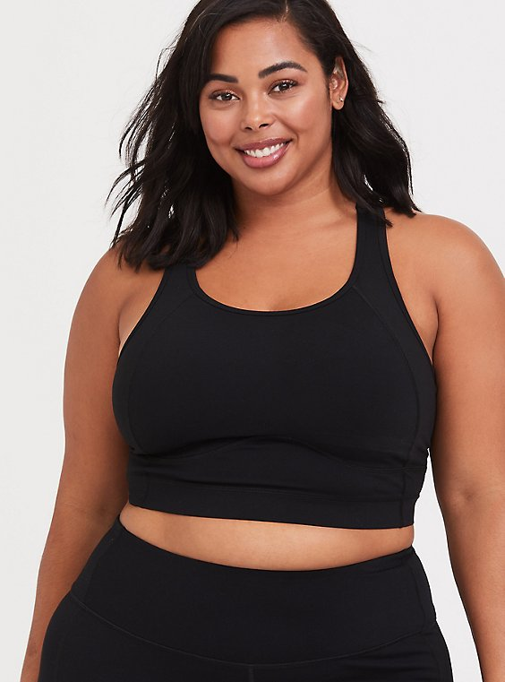 Plus Size Black Longline Wicking Sports Bra, , hi-res