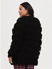 Black Loop Knit Open Front Cardigan, DEEP BLACK, alternate