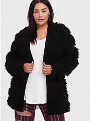 Black Loop Knit Open Front Cardigan, DEEP BLACK, hi-res