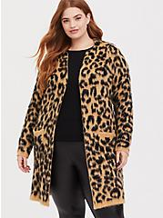 Leopard Brushed Cardigan, , alternate