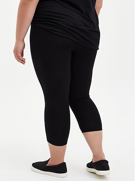 Plus Size Capri Premium Leggings - Black, BLACK, alternate