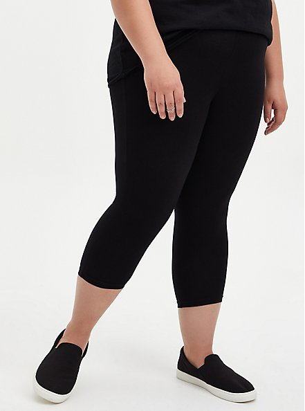 Plus Size Capri Premium Leggings - Black, BLACK, hi-res