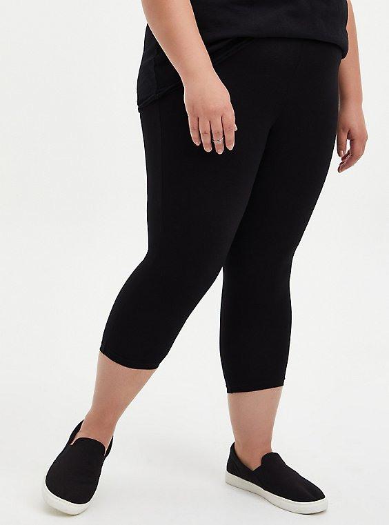 Plus Size Capri Premium Leggings - Black, , hi-res