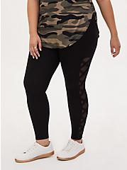 Premium Legging - Lattice Mesh Side Insert Black, BLACK, alternate