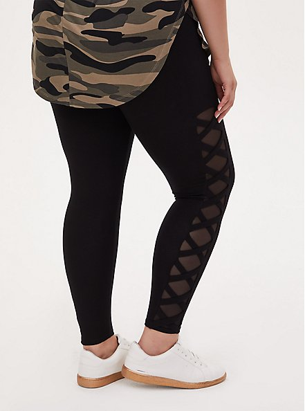 Premium Legging - Lattice Mesh Side Insert Black, BLACK, alternate