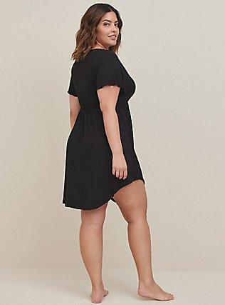 Plus Size Black Lace Trim V-Neck Sleep Chemise, DEEP BLACK, alternate