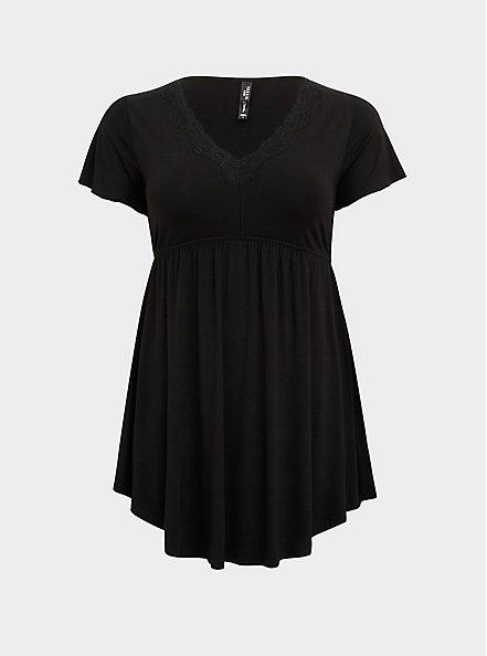 Black Lace Trim Sleep Dress, DEEP BLACK, hi-res