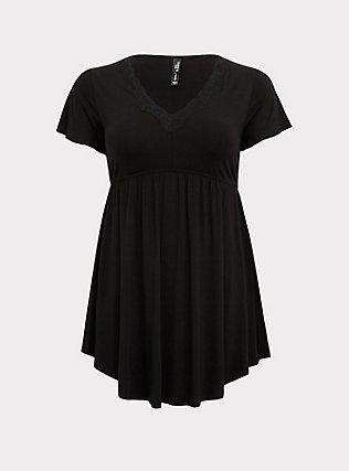 Black Lace Trim Sleep Chemise, DEEP BLACK, flat
