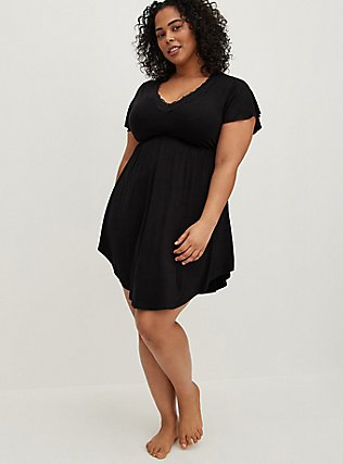 Plus Size Black Lace Trim V-Neck Sleep Chemise, DEEP BLACK, hi-res
