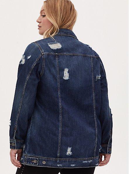 Denim Long Line Jacket - Dark Wash, , alternate