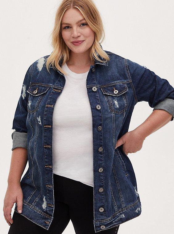 Denim Long Line Jacket - Dark Wash, , hi-res