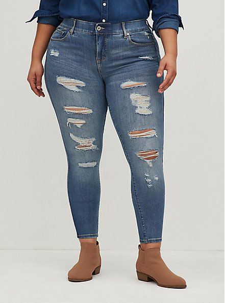 Bombshell Skinny Jean - Premium Stretch Medium Wash, TIDES, hi-res