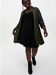 Black Ribbed Knit Fluted Dress, DEEP BLACK, alternate