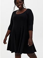 Black Ribbed Knit Fluted Dress, DEEP BLACK, hi-res