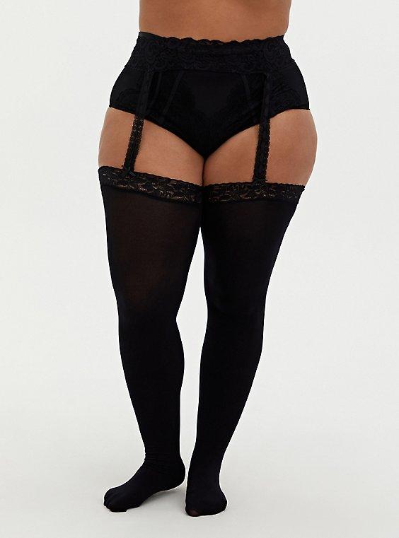 Black Thigh High Faux Garter, BLACK, hi-res