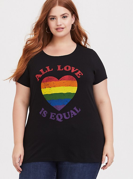 All Love is Equal Black Slim Fit Crew Tee, , hi-res