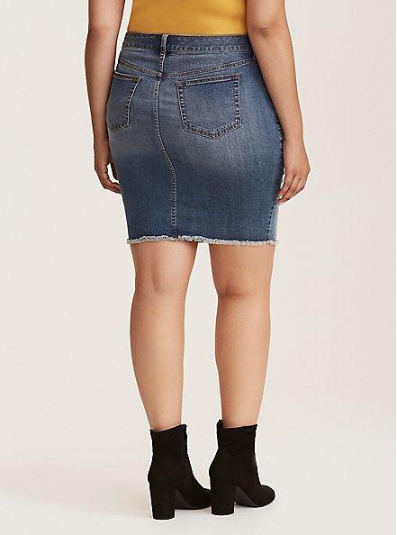 Denim Mini Skirt - Distressed Medium Wash, MEDIUM BLUE WASH, alternate