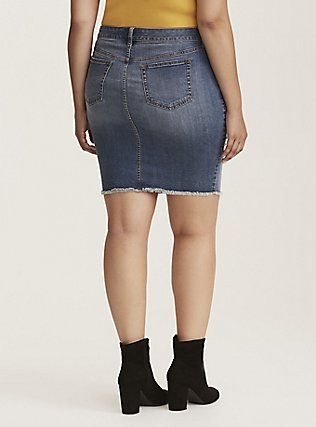 Plus Size Denim Mini Skirt - Distressed Light Wash, MEDIUM BLUE WASH, alternate