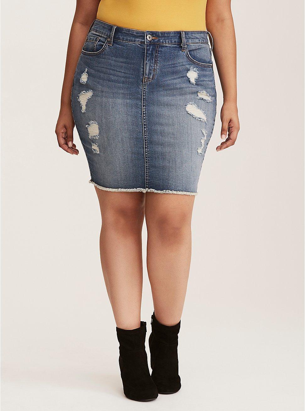 Plus Size Denim Mini Skirt - Distressed Medium Wash, MEDIUM BLUE WASH, hi-res
