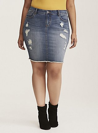 Denim Mini Skirt - Distressed Light Wash, MEDIUM BLUE WASH, hi-res
