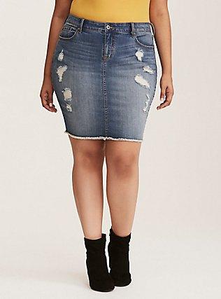 Plus Size Denim Mini Skirt - Distressed Light Wash, MEDIUM BLUE WASH, hi-res