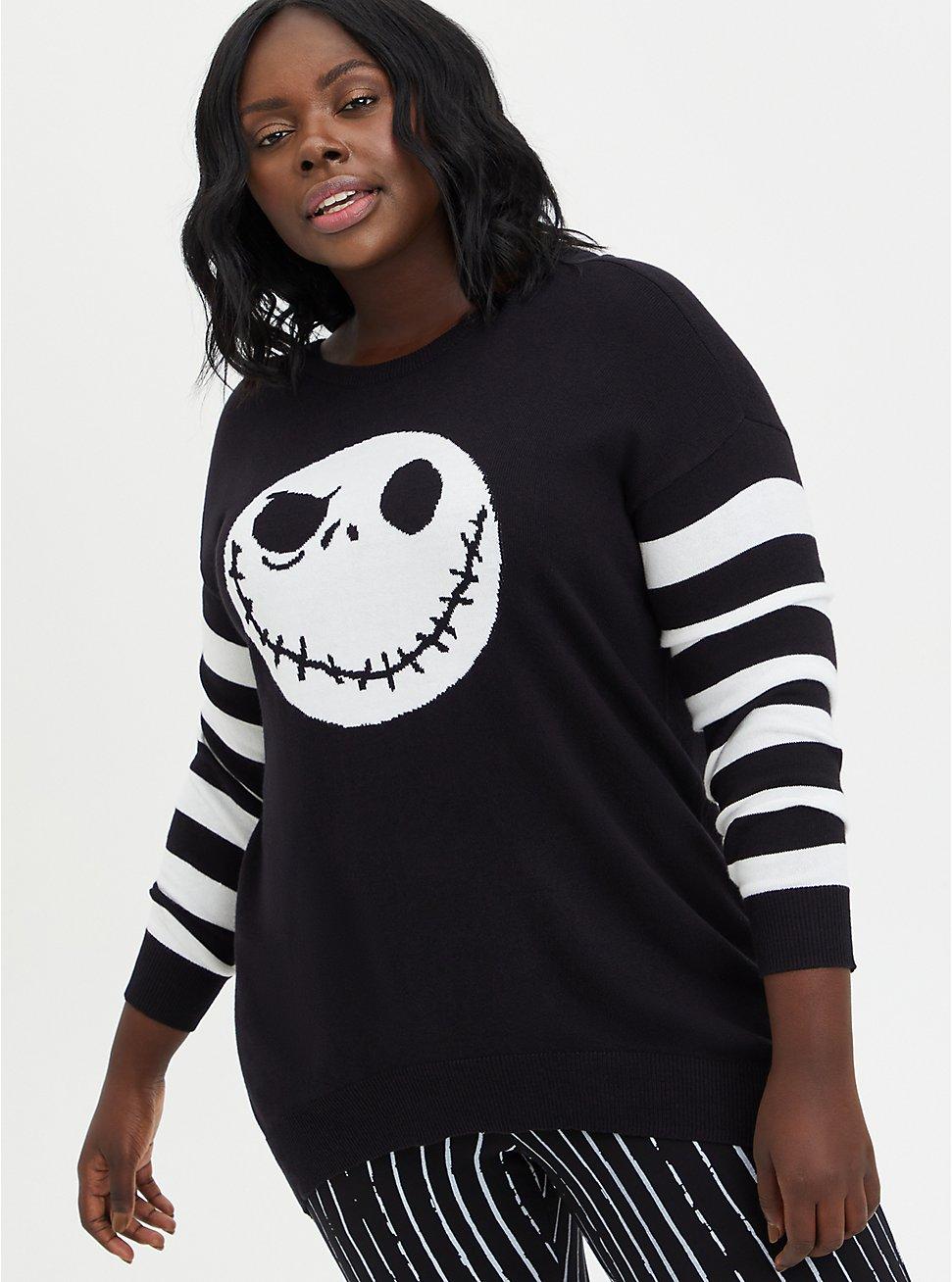 The Nightmare Before Christmas Jack Skellington Crossback Sweater, DEEP BLACK, hi-res