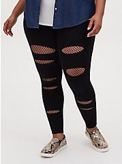 Premium Legging - Slashed Fishnet Underlay Black, BLACK, alternate