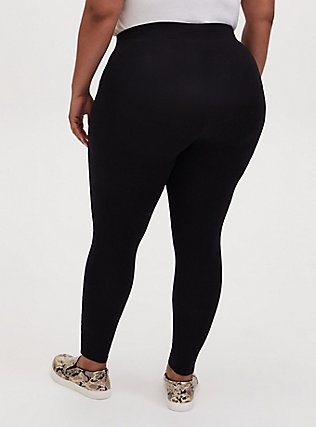 Plus Size Premium Legging - Slashed Fishnet Underlay Black, BLACK, alternate