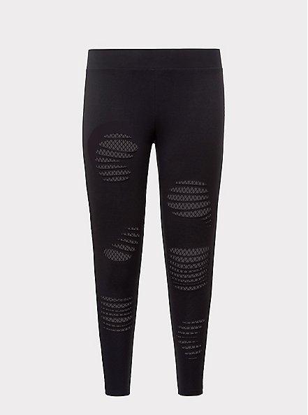 Plus Size Premium Legging - Slashed Fishnet Underlay Black, BLACK, hi-res