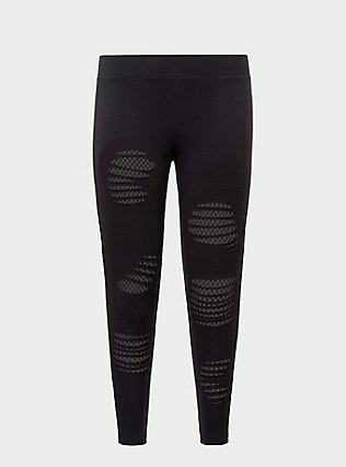 Plus Size Premium Legging - Slashed Fishnet Underlay Black, BLACK, flat