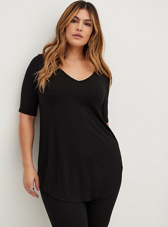 Plus Size Super Soft Black Favorite Tunic Tee, , hi-res