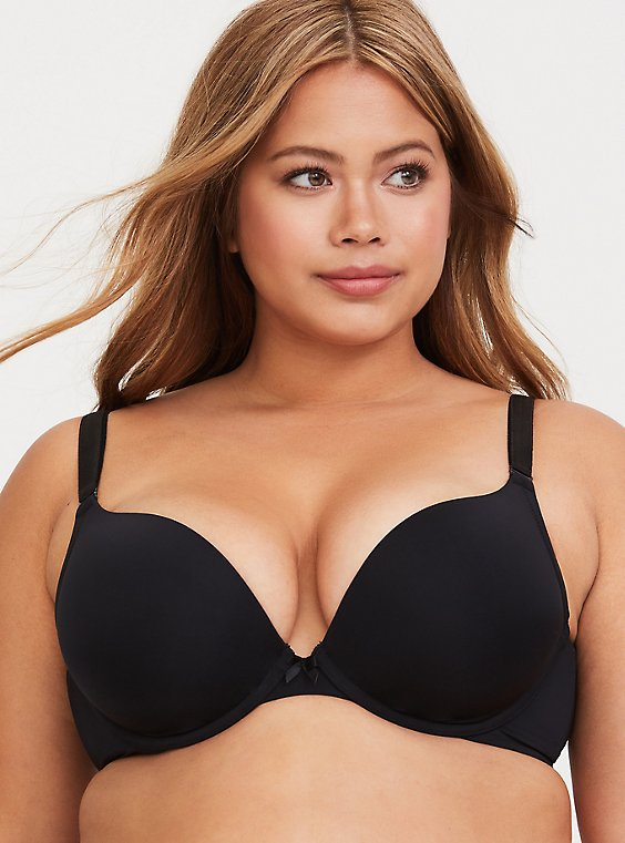 Plus Size Black Microfiber 360° Back Smoothing™ Push-Up Plunge Bra, , hi-res
