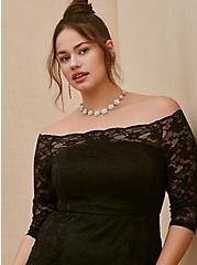 Special Occasion Black Lace Off Shoulder Gown, DEEP BLACK, alternate