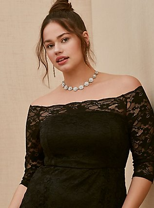 Special Occasion Black Lace Off Shoulder Gown, DEEP BLACK, alternate