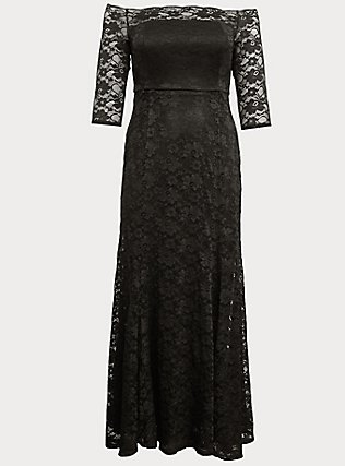 Special Occasion Black Lace Off Shoulder Gown, DEEP BLACK, flat