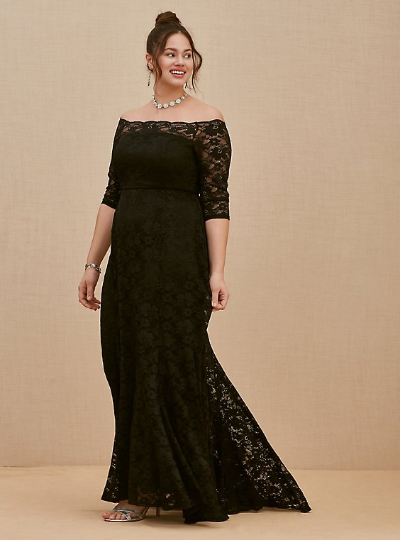 Special Occasion Black Lace Off Shoulder Gown, , hi-res