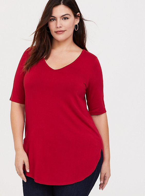Super Soft Red Favorite Tunic Tee, , hi-res