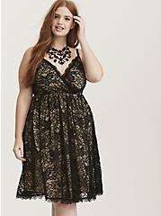 Black Lace Surplice Skater Dress, DEEP BLACK, alternate