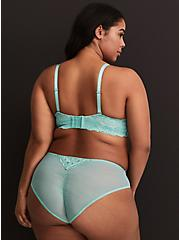 Plus Size Aqua Lace Ruched Back Hipster Panty, , alternate