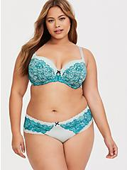 Plus Size Mint Green & Teal Lace Lightly Lined T-Shirt Bra, MULTICOLOR, alternate