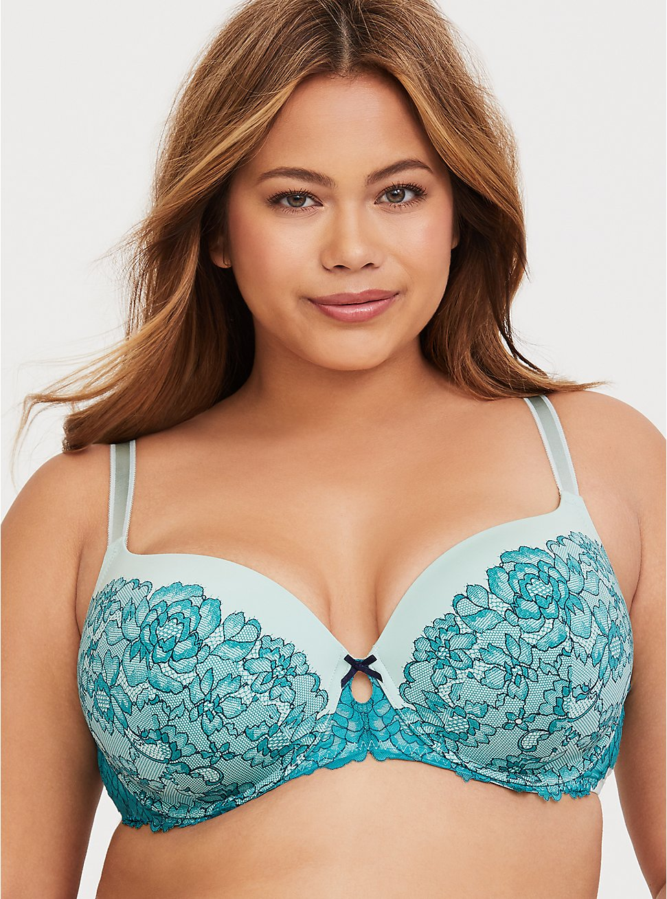 Plus Size Mint Green & Teal Lace Lightly Lined T-Shirt Bra, MULTICOLOR, hi-res