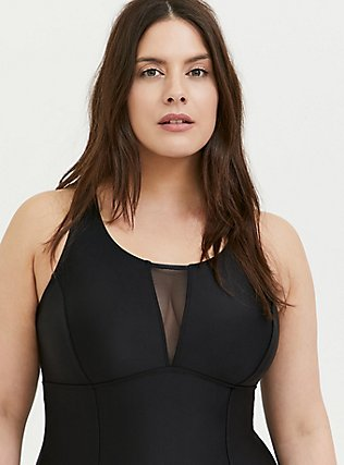 Black Mesh Inset Keyhole Back Wireless One-Piece Swimsuit, DEEP BLACK, alternate
