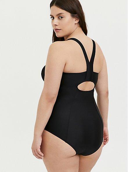 Black Mesh Inset Keyhole Back Wireless One-Piece Swimsuit, DEEP BLACK, alternate