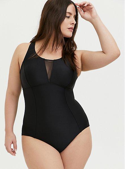 Black Mesh Inset Keyhole Back Wireless One-Piece Swimsuit, DEEP BLACK, hi-res