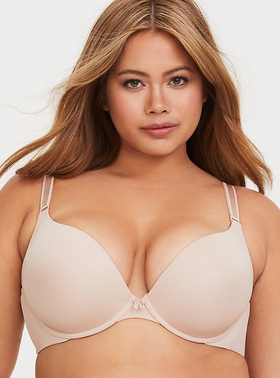 Plus Size Nude 360° Back Smoothing™ Push-Up Plunge Bra, , hi-res
