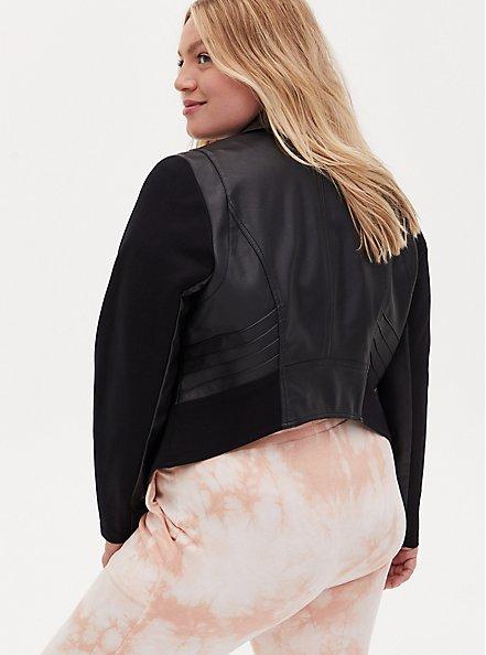 Black Faux Leather & Ponte Moto Jacket, DEEP BLACK, alternate