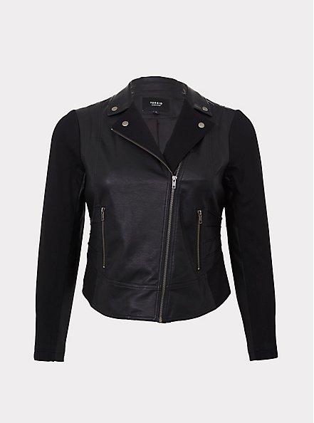 Black Faux Leather & Ponte Moto Jacket, DEEP BLACK, hi-res