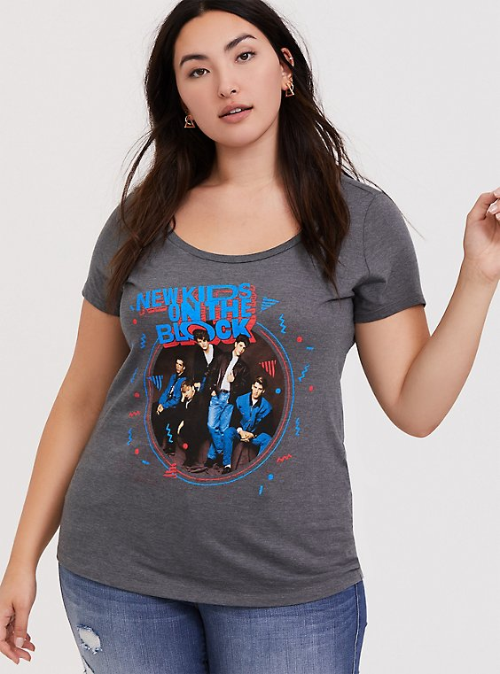New Kids On The Block Grey Slim Fit Tee, , hi-res
