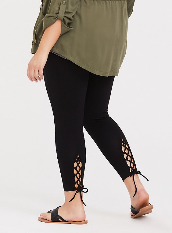 Premium Legging - Lattice Lace-Up Insert Black, , hi-res