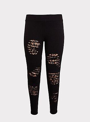Premium Legging - Slashed Leopard Underlay Black, BLACK, flat